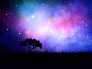 3D silhouetted tree landscape against a nebula night sky