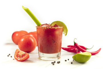 Bloody Mary cocktail with celery and lime