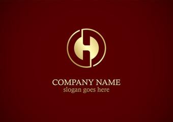 round letter h gold logo