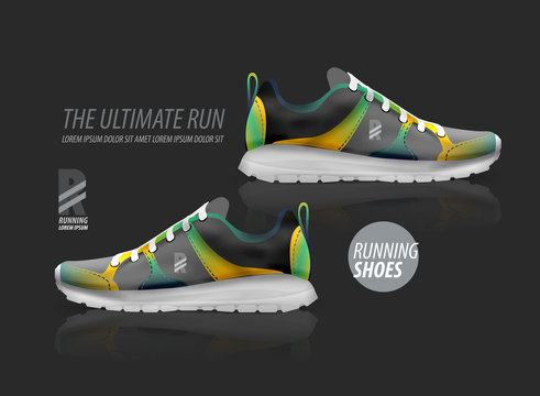 Vector running shoes ad product template
