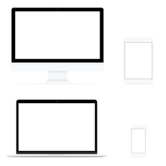 modern computer electronic flat design vector drawing set on white background