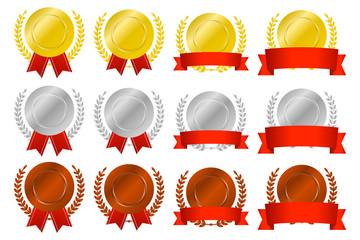 月桂冠付きランキングメダル(丸) / Ranking round medals pack / Laurel wreath