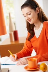 Woman writing to diary