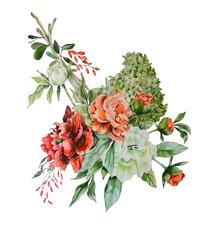 Flower bouquet.Hand drawn watercolor illustration.