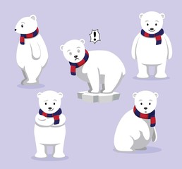 Polar Bear Poses Cartoon Vector Illustration