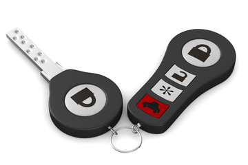 Automobile key on white background. Isolated 3D image