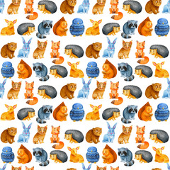 Seamless watercolor pattern with adorable and bright owl, deer, fox, hedgehog, lynx, raccoon, bunny, bear and squirrel. Children illustration
