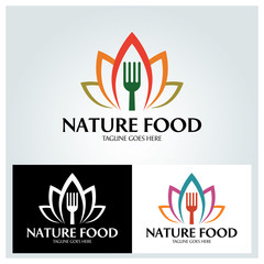 Nature food logo design template ,Vector illustration