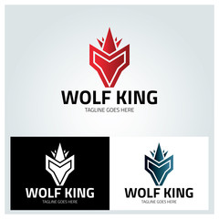 Wolf king logo design template ,Vector illustration