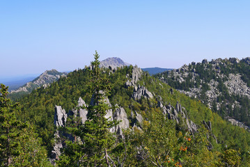 The views of the national Park and beautiful mountains. National Park Taganay, Chelyabinsk oblast, Russia.