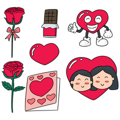 vector set of valentine day