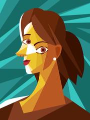 beautiful cubist woman portrait