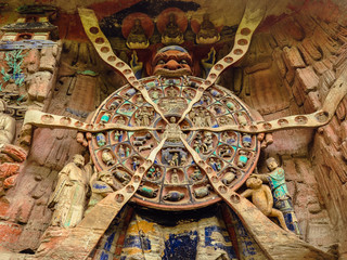 Wheel of Reincarnation, Ancient Buddhist Hillside Rock Carving - Dazu, Baodingshan, Chongqing, China Fototapete