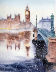 Handwork watercolor illustration. The Big Ben, the Houses of Parliament and Westminster Bridge in London.Winter landscape.