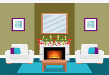 Living room interior with fir-tree on fireplace. Christmas design. Vector in flat style including furniture.