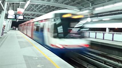 BTS train with blur motion, Bangkok, Thailand