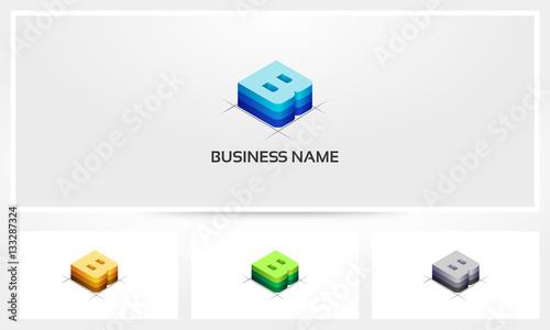 Letter B Block Stack Logo