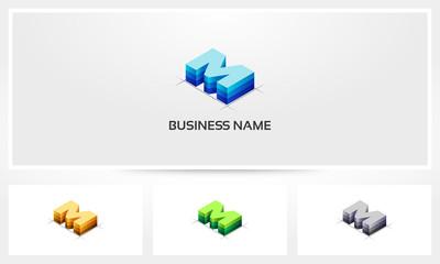 Letter M Block Stack Logo