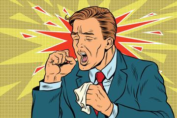 Sick man coughing