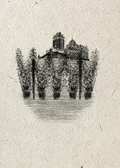 Black monogram medieval Czech castle and hop-garden drawn by hand, isolated on beige rice paper background. Beer card.