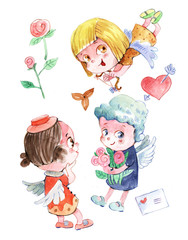 angel kids, Valentine's Day, watercolor