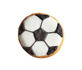 Football cookie on white background