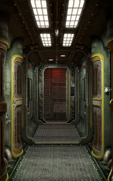 Spaceship corridor background