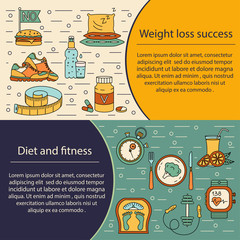 Banner or flyer template. Weight Loss, Diet card.