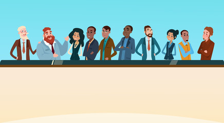 Business People Group Executives Team with Banner Board Copy Space Flat Vector Illustration
