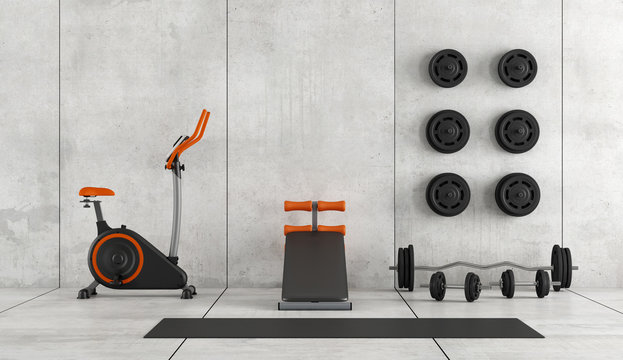 Modern room with gym equipment