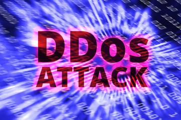 DDOS on a Digital Binary Warning above electronic circuit board with processor background