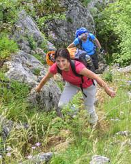 leichte Kletterei beim Wanderausflug