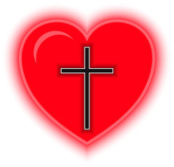 Cross and Red Heart. Symbol of Religion. Vector illustration.