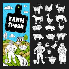 Set of banners in sketch style, farmland, farmers, house, field, animals. Farm fresh logo, blackboard, leaf, horizontal banners. Hand drawn vector illustration.