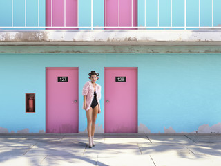 woman walking from abandoned motel with pink doors. vacation concept