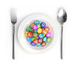 Vitamins on the plate instead of food, 3d render.