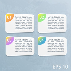 Infographics template with paper sheets. Watercolor gray background.