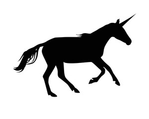 Silhouette of unicorn. Black on white
