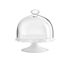 Porcelain cake stand with glass bell jar