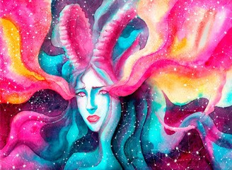 shy girl with long horns, symbolizes the zodiac sign Capricorn