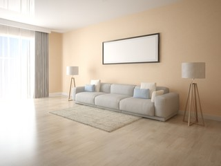 Mock up a bright living room with a large sofa and stylish floor lamps.