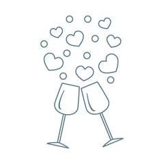 Cute vector illustration of two stemware with hearts. Greeting c