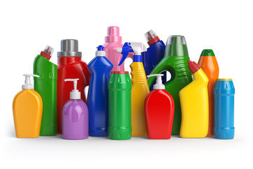 Detergent bottles or contaners. Cleaning supplies isolated on wh