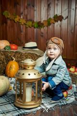 boy blue eyes in autumn