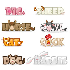 cartoon pets, funny cute animal text name