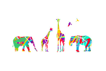 Colorful animals on white background