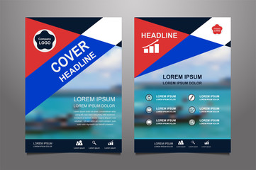 Blue and red Vector annual report Leaflet Brochure Flyer template design, book cover layout design, Abstract  blue and red presentation book cover templates