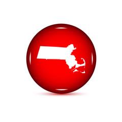 Fototapeta Map of the U.S. state of Massachusetts. Red button on a white ba obraz
