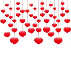 Hearts on threads template for greeting cards. Valentine's Day.