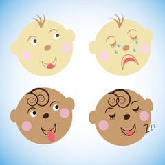 vector illustration Kids faces. childrens emotions. set icons, symbols.